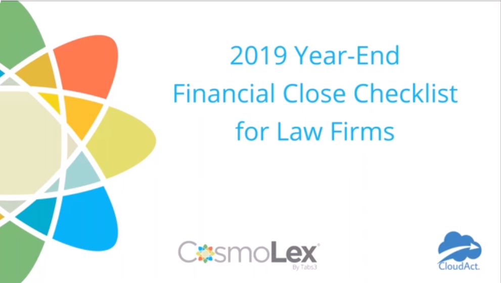 2019 Year-End Financial Close Checklist for Law Firms